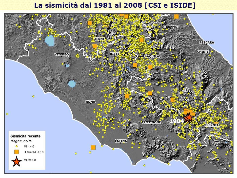 La sismicità dal 1981 al 2008 [CSI e ISIDE]